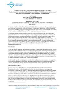 COMMENTS ON ADVANCE NOTICE OF PROPOSED RULEMAKING Nondiscrimination on the Basis of Disability; Accessibility of Web Information and Services of State and Local Government Entities and Public Accommodations 75 FRD