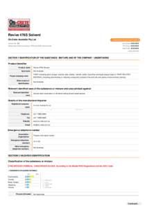 Revive 476S Solvent On-Crete Australia Pty Ltd Chemwatch Hazard Alert Code: 3  Version No: 1.3