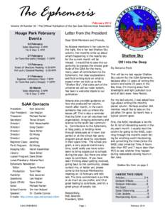 The Ephemeris  February 2014 Volume 25 Number 02 - The Official Publication of the San Jose Astronomical Association  Houge Park February