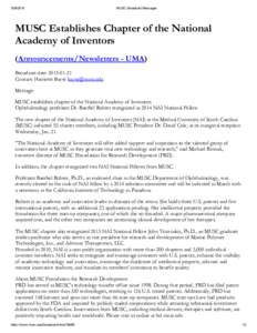 MUSCBroadcastMessages MUSC Establishes Chapter of the National Academy of Inventors