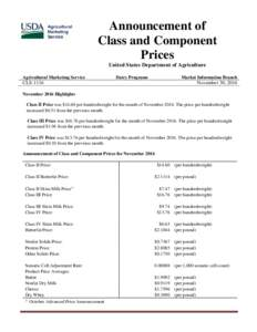 Announcement of Class and Component Prices United States Department of Agriculture Agricultural Marketing Service