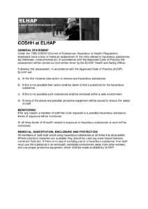 Coshh hazard risk assessment sheet