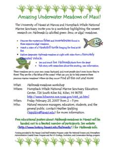 Amazing Underwater Meadows of Maui! The University of Hawaii at Manoa and Humpback Whale National Marine Sanctuary invite you to a workshop highlighting the newest research on Halimeda (a calcified green limu, or alga) m