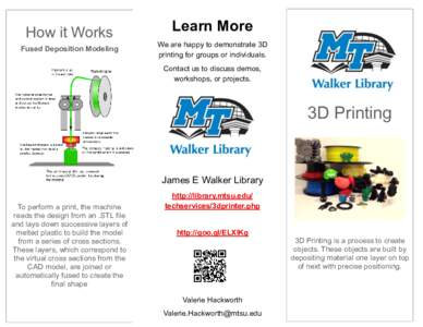How it Works Fused Deposition Modeling Learn More We are happy to demonstrate 3D printing for groups or individuals.