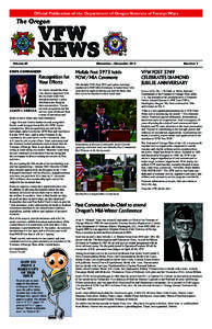 Official Publication of the Department of OregonNovember Veterans- December of Foreign2013 Wars VFW NEWS 1