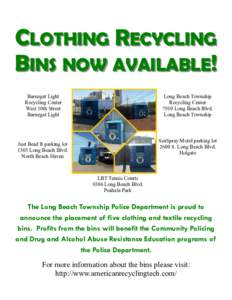 CLOTHING RECYCLING BINS NOW AVAILABLE! Barnegat Light Recycling Center West 10th Street Barnegat Light