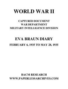 WORLD WAR II CAPTURED DOCUMENT WAR DEPARTMENT MILITARY INTELLIGENCE DIVISION  EVA BRAUN DIARY