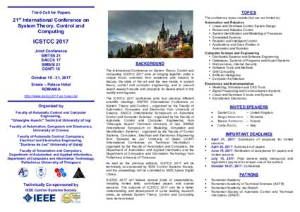 Third Call for Papers  TOPICS 21st International Conference on System Theory, Control and