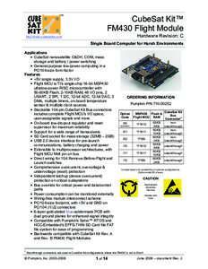 TM  CubeSat Kit™ FM430 Flight Module Hardware Revision: C