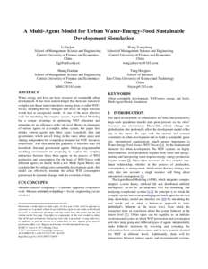 A Multi-Agent Model for Urban Water-Energy-Food Sustainable Development Simulation Li Guijun School of Management Science and Engineering Central University of Finance and Economics China