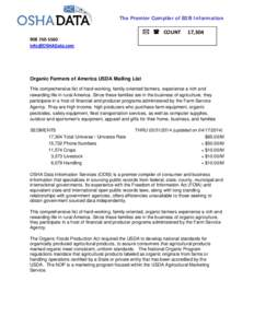 The Premier Compiler of B2B Information  908750‐5560