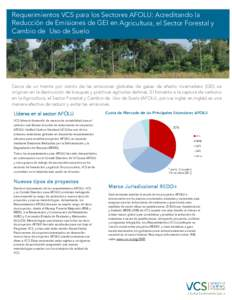 Requerimientos VCS para los Sectores AFOLU: Acreditando la Reducción de Emisiones de GEI en Agricultura, el Sector Forestal y Cambio de Uso de Suelo Cerca de un treinta por ciento de las emisiones globales de gases de e