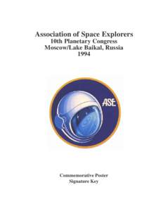 Association of Space Explorers 10th Planetary Congress Moscow/Lake Baikal, RussiaCommemorative Poster