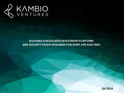 BUILDING A REGULATED INVESTMENT PLATFORM AND SECURITY TOKEN EXCHANGE FOR START-UPS AND SMEs Q4 2018  Disclaimer