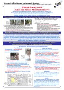 Center for Embedded Networked Sensing UCLA – UCR – Caltech – USC – CSU Habitat Sensing at the James San Jacinto Mountains Reserve Michael Allen, Thanos Boulis, Kevin Browne, Naim Busek, Vlad Bychkovskiy, Deborah