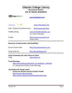Chipola College Library Research Guide LIST OF TRAVEL RESOURCES www.tripadvisor.com  urban spoon