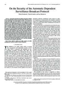 1066  IEEE COMMUNICATION SURVEYS & TUTORIALS, VOL. 17, NO. 2, SECOND QUARTER 2015 On the Security of the Automatic Dependent Surveillance-Broadcast Protocol