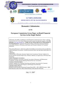 Consultative Paper on Retail Financial Services in the Single Market