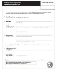 California Voter Registration Cancellation Request Form