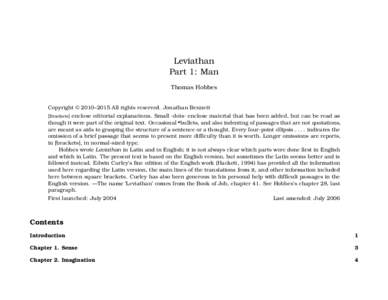 Leviathan Part 1: Man Thomas Hobbes Copyright © 2010–2015 All rights reserved. Jonathan Bennett [Brackets] enclose editorial explanations. Small ·dots· enclose material that has been added, but can be read as