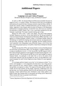 Stabilizing Indigenous Languages  Additional Papers American Samoa Language Arts and Culture Program Bernadette Manase, Elisapeta Luaao, and Mataio Fiamalua1