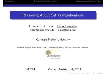 Introduction  Encoding SC (LIA) into U+LIA Implementation and Future Work