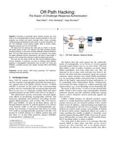 1  Off-Path Hacking: The Illusion of Challenge-Response Authentication Yossi Gilad∗‡ , Amir Herzberg†‡ , Haya Shulman§‡