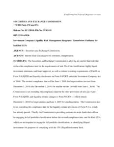 Investment Company Liquidity Risk Management Programs; Commission Guidance for In-Kind ETFs