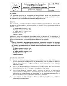 Methodology on the Recognition of Study Documents for Bachelor's Degree/Master's Degree OPERATIONAL PROCEDURE  Code: PO-IFIN-03