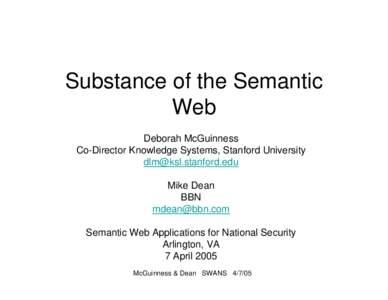SWANS Substance of Semantic Web