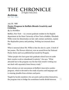 Poetry Program in Buffalo Blends Creativity and Criticism - Archives - The Chronicle of Higher Education