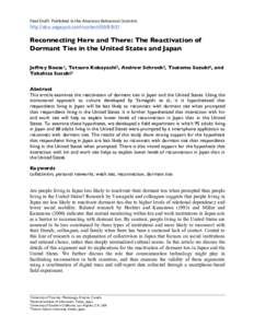 Final Draft. Published in the American Behavioral Scientist.   http://abs.sagepub.com/contentReconnecting Here and There: The Reactivation of Dormant Ties in the United States an
