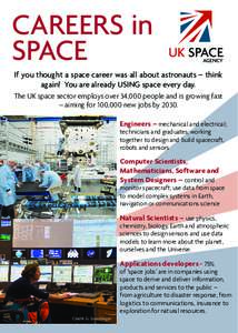 CAREERS in SPACE If you thought a space career was all about astronauts – think again! You are already USING space every day. The UK space sector employs over 34,000 people and is growing fast – aiming for 100,000 ne