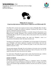 WIKIMEDIA CH  Wikimédia CH – Association for the advancement of free knowledge  http://www.wikimedia.ch