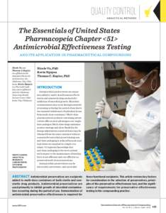 Quality Control a na lyti ca l me thods The Essentials of United States  Pharmacopeia Chapter <51> Antimicrobial Effectiveness Testing