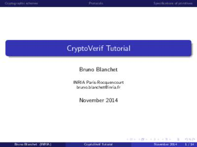 Cryptographic schemes  Protocols Specifications of primitives