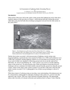 An Examination of Lightning-Strike-Grounding Physics by C. B. Moore, G. D. Aulich and William Rison Langmuir Laboratory for Atmospheric Research, New Mexico Tech, Socorro, NM 87801