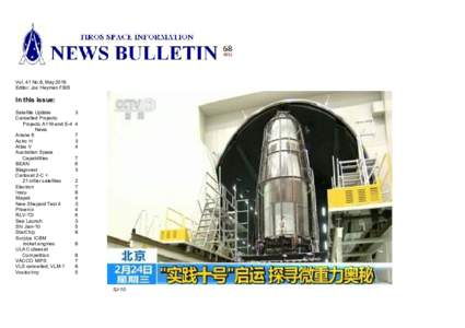 Vol. 41 No.8, May 2016 Editor: Jos Heyman FBIS In this issue: Satellite Update Cancelled Projects:
