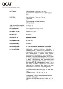 CITATION:  Camp Seabee Properties Pty Ltd v Commissioner of State RevenueQCAT 258