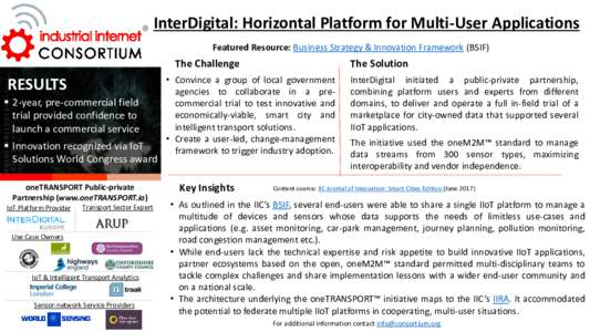 InterDigital: Horizontal Platform for Multi-User Applications Featured Resource: Business Strategy & Innovation Framework (BSIF) The Challenge  RESULTS