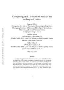 arXiv:1805.03418v1 [cs.SC] 9 MayComputing an LLL-reduced basis of the orthogonal lattice Jingwei Chen Chongqing Key Lab of Automated Reasoning & Cognition,