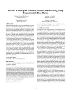 MP-HULA: Multipath Transport Aware Load Balancing Using Programmable Data Planes