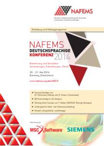 Neutrale Interessenvertretung der Anwender numerischer Simulationsmethoden Einladung und Vortragsprogramm  Berechnung und Simulation: