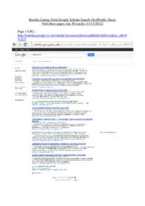 Results Listing From Google Scholar Search (SeaWorld, Orca): First three pages, top 30 resultsPage 1 URL: http://scholar.google.co.uk/scholar?q=seaworld+orca&btnG=&hl=en&as_sdt=0 %2C5