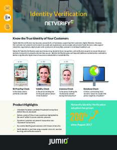 Identity Verification  Know the True Identity of Your Customers Digital identity verification has become a necessity for all businesses supporting their customers' digital lifestyles. However, the 'customer-not-prese