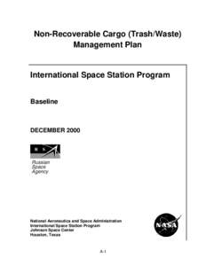 Non-Recoverable Cargo (Trash/Waste) Management Plan International Space Station Program Baseline