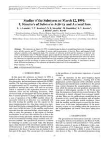 ISSN, Cosmic Research, 2007, Vol. 45, No. 1, pp. 27–38. © Pleiades Publishing, Ltd., 2007. Original Russian Text © L.L. Lazutin, T.V. Kozelova, N.P. Meredith, M. Danielides, B.V. Kozelov, J. Jussila, A. Kor