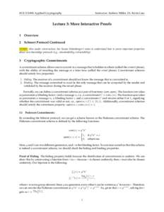 ECE/CS498: Applied Cryptography  Instructor: Andrew Miller, TA: Kevin Liao Lecture 3: More Interactive Proofs 1