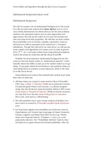 Proof, beliefs, and algorithms through the lens of sum-of-squares  Mathematical background and pre work Mathematical background We will not assume a lot of mathematical background in this course but will use some basic n