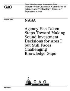 United States Government Accountability Office  GAO Report to the Chairman, Committee on Science and Technology, House of